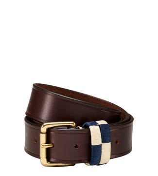 The Mendoza Checker Three and a Half Cm Leather Jeans Belt in chocolate | OSPREY LONDON