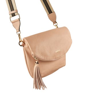The Milano Italian Leather Convertible Cross-Body in rose pink | OSPREY LONDON