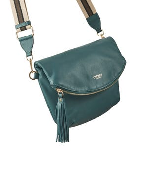 The Milano Italian Leather Convertible Cross-Body in teal | OSPREY LONDON