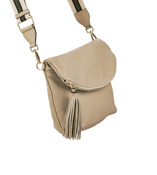 The Milano Italian Leather Convertible Cross-Body in taupe | OSPREY LONDON