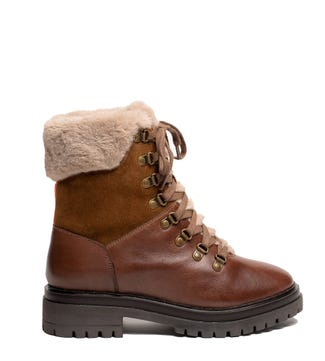 The Minnie Leather & Suede Lace-Up Ankle Boots in tan   OSPREY LONDON