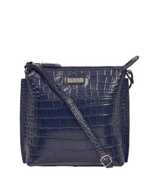 The Minster Leather Cross-Body in navy blue | OSPREY LONDON