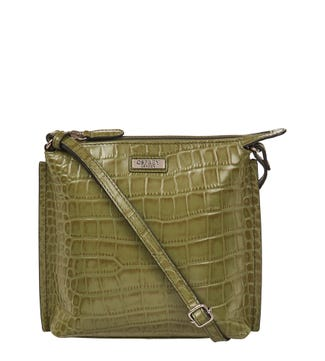 The Minster Leather Cross-Body in olive green | OSPREY LONDON