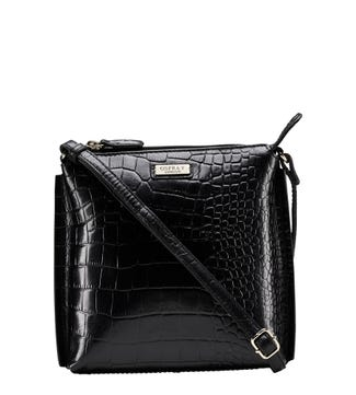 The Minster Leather Cross-Body in black| OSPREY LONDON