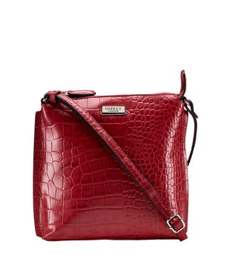 The Minster Leather Cross-Body in chilli red| OSPREY LONDON