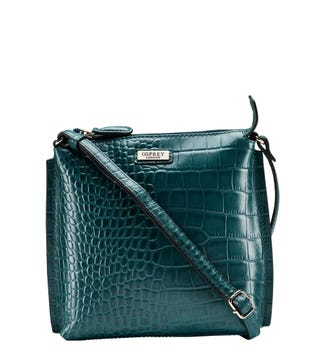 The Minster Leather Cross-Body in teal | OSPREY LONDON