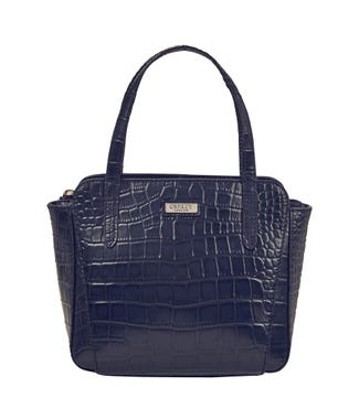 The Minster Leather Grab in navy blue | OSPREY LONDON