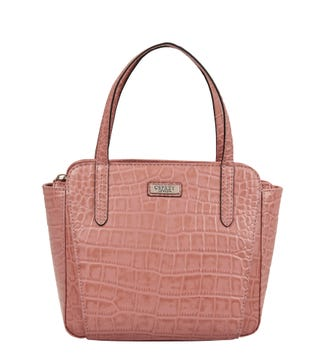 The Minster Leather Grab in old rose | OSPREY LONDON