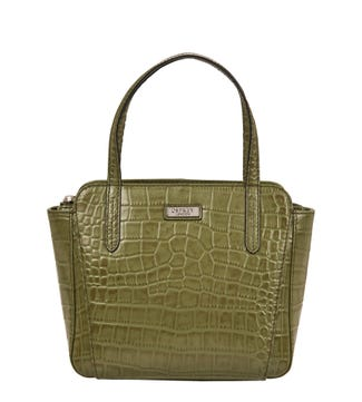 The Minster Leather Grab in olive green | OSPREY LONDON
