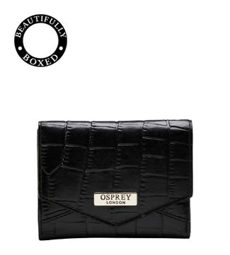 The Small Minster Leather Matinee Purse in black   OSPREY LONDON