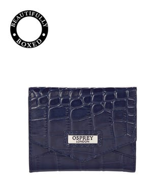 The Small Minster Leather Matinee Purse in navy blue | OSPREY LONDON