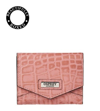 The Small Minster Leather Matinee Purse in old rose | OSPREY LONDON