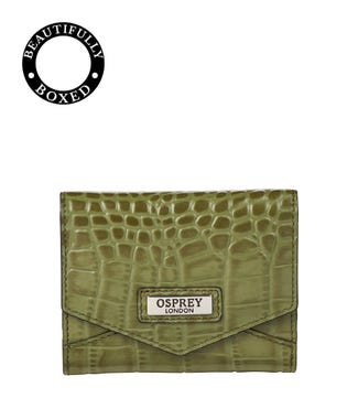 The Small Minster Leather Matinee Purse in olive green | OSPREY LONDON