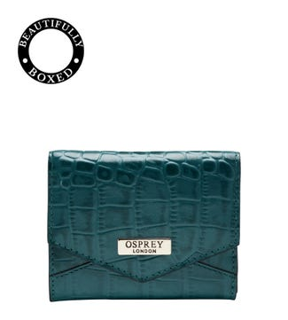 The Small Minster Leather Matinee Purse in teal | OSPREY LONDON