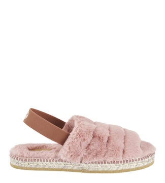The Montego Bay Faux Fur Indoor Outdoor Sliders in pink | OSPREY LONDON