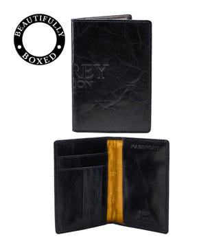 The Osprey Leather Passport Cover in navy | OSPREY LONDON