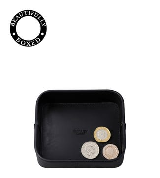 The Pall Mall Leather Coin Tray in black | OSPREY LONDON