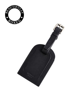 The Pall Mall Leather Luggage Tag in black | OSPREY LONDON