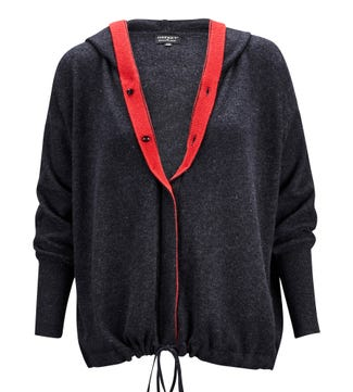 The Peppy Button-Through Cashmere & Wool Cardi in graphite grey & poppy red | OSPREY LONDON