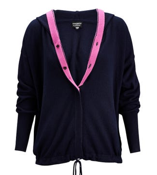 The Peppy Button-Through Cashmere & Wool Cardi in navy blue & candy pink | OSPREY LONDON