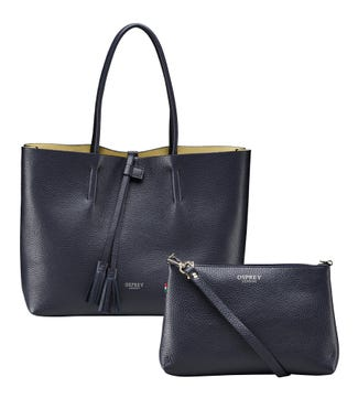 The Portofino Italian Leather Tote in midnight blue | OSPREY LONDON