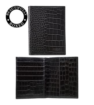 The Pullman Leather Passport Cover in black | OSPREY LONDON