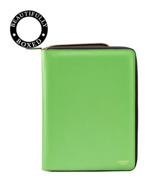 The Rainbow Leather Document Case in green