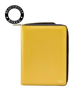 The Rainbow Leather Document Case in lemon yellow