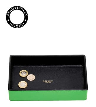 The Rainbow Leather Coin Tray in apple green  | OSPREY LONDON