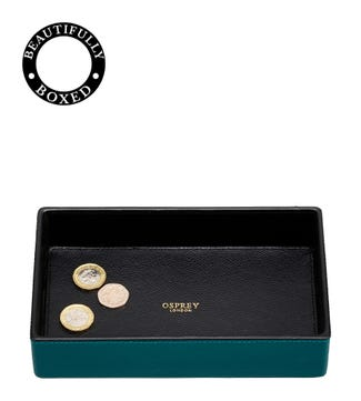 The Rainbow Leather Coin Tray in teal  | OSPREY LONDON