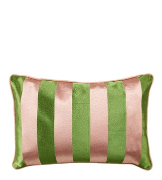 The Rectangular Embroidered Cushion pink and green | OSPREY LONDON