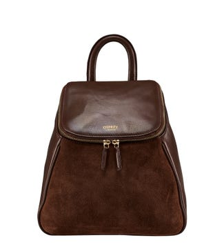 The Rhoda Leather & Suede Backpack in chocolate | OSPREY LONDON