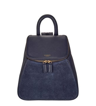The Rhoda Leather & Suede Backpack in navy blue | OSPREY LONDON