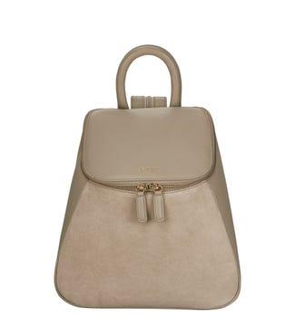 The Rhoda Leather & Suede Backpack in taupe | OSPREY LONDON