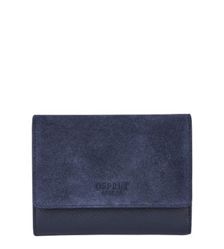 The Rhoda Leather & Suede Matinee Purse in navy blue | OSPREY LONDON