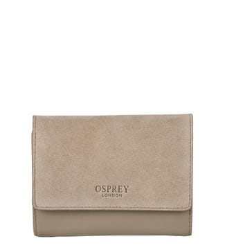 The Rhoda Leather & Suede Matinee Purse in taupe | OSPREY LONDON