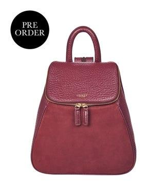 The Rhoda Leather & Suede Backpack in oxblood | OSPREY LONDON