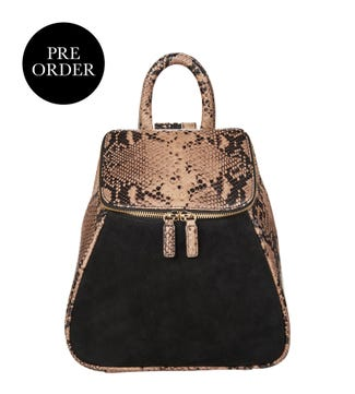 The Rhoda Leather & Suede Backpack in python print | OSPREY LONDON