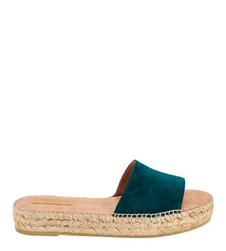 The Rio Spanish Suede Slider Sandals in teal  | OSPREY LONDON