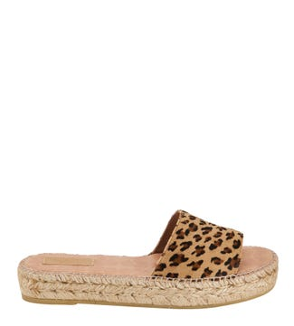 The Rio Spanish Leather Slider Sandals in tan leopard  | OSPREY LONDON