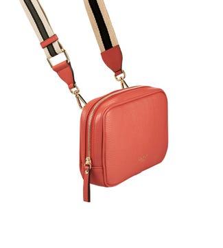 The Roma Italian Leather Convertible Cross-Body in deep blush pink | OSPREY LONDON