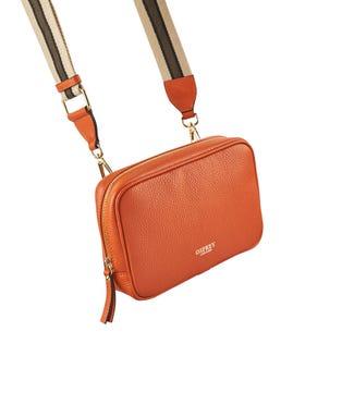 The Roma Italian Leather Convertible Cross-Body in orange | OSPREY LONDON