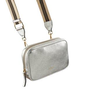 The Roma Italian Leather Convertible Cross-Body in silver | OSPREY LONDON