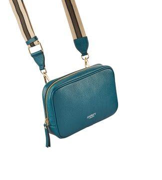 The Roma Italian Leather Convertible Cross-Body in teal | OSPREY LONDON