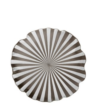 The Round Sunray Embroidered Cushion in sand & grey | OSPREY LONDON