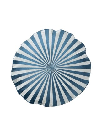 The Round Sunray Embroidered Cushion in sky blue & pale grey | OSPREY LONDON