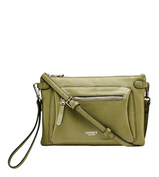 The Ruby Leather Cross-Body Clutch in khaki | OSPREY LONDON