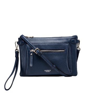 The Ruby Leather Cross-Body Clutch in navy | OSPREY LONDON