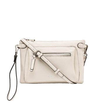 The Ruby Leather Cross-Body Clutch in stone | OSPREY LONDON