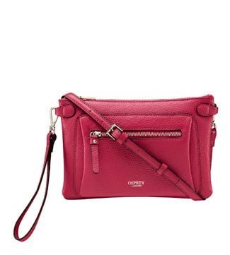 The Ruby Leather Cross-Body Clutch in berry | OSPREY LONDON
